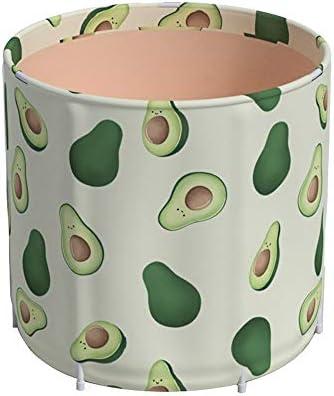 浴槽 アボカドのパターン折りたたみ肥厚世帯の使用フルボディバスバレル女性入浴バレルバスタブバスタブ70x65cm 大人用家庭用 (Color : Green, Size : 65x70cm)