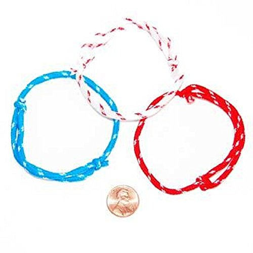 Fun Express Patriotic 4th of July Wristbands | Red Blue and White Bracelets for Kids Party Favors (144 Count) -