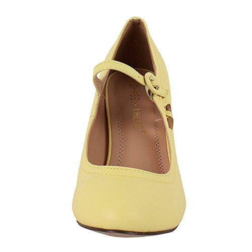 Chase & Chloe Womens Kimmy-21 Regular |Mary Jane | Mid Heel Shoes Lemon LJ7i32hImX