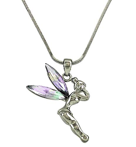 DianaL Boutique Fairy Tinkerbell Pendant Necklace Silver Tone AB Crystal Wings Gift Boxed Tinker Bell Fashion Jewelry