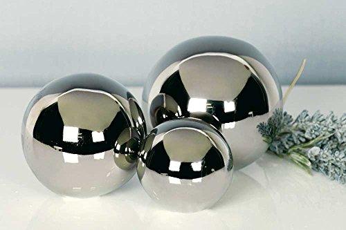 3tlg.-Set Dekokugeln Silverball aus Keramik 5/6/7 cm