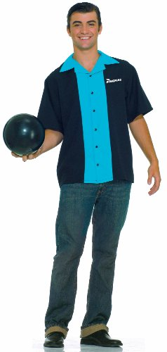 50s Costumes Best (Forum Flirtin With The 50S King Pins Bowling Shirt, Black/Blue, Plus)