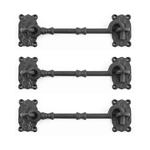 Renovator's Supply Cabin Privacy Hook Eye Latch Black Iron 7.25 Inch Set Of 3