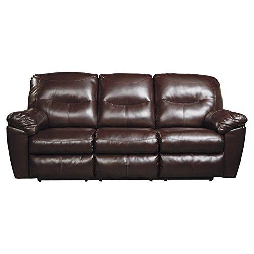 Ashley Kilzer DuraBlend Reclining Faux Leather Sofa in Mahogany