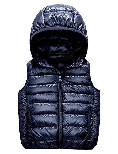 Hooded Waistcoat - IKALI Kids Puffer Down Vest, Ultralight Hooded Sleeveless Jacket Waistcoat for Toddler Boys Girls Outwear(8-10Y, Dark-Blue)