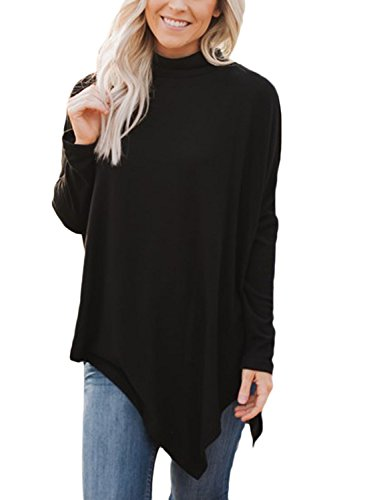 - Podlily Womens Solid Long Sleeve Loose Flared Hankerchief Hem Tunic Sweater X-Large Black