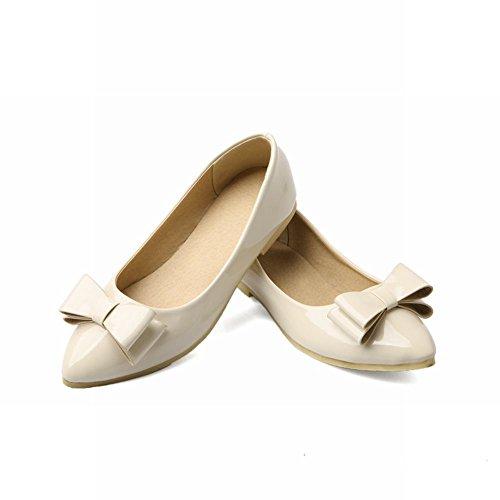 Carol Zapatos Sweet Mujeres Bowknots Cuff-toe Cuff Elegance Cute Fashion Zapatos De Vestir Planos Beige