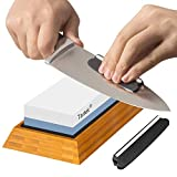 Premium Knife Sharpening Stone - Dual 1000/6000 Grit Japanese Whetstone - Best Sharpener Waterstone Kit -Nonslip Bamboo Base & Angle Guide- Perfect to Sharpen & Polish Knives, Chisels, Scissors