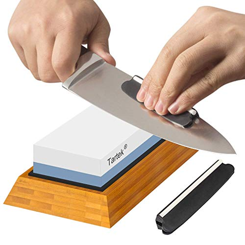 (Premium Knife Sharpening Stone - Dual 1000/6000 Grit Japanese Whetstone - Best Sharpener Waterstone Kit -Nonslip Bamboo Base & Angle Guide- Perfect to Sharpen & Polish Knives, Chisels, Scissors)