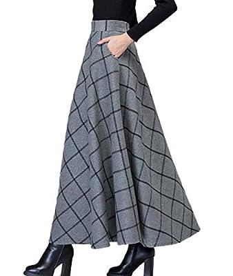 Femirah Women's Vintage Plaid Wool Maxi Skirt Long Skirt Winter Skirt