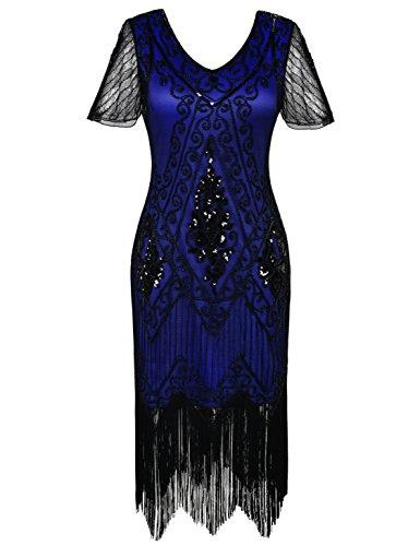- kayamiya Women's Flapper Dresses 1920s Sequins Art Deco Gatsby Cocktail Dress with Sleeve XL Blue