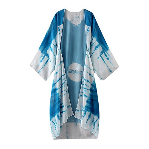 Han Shi Blouse, Women Print Chiffon Loose Shawl Long Kimono Cardigan Cover up Shirt (M, Blue)
