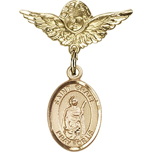 14kt Yellow Gold Baby Badge with St. Grace Charm and Angel w/Wings Badge Pin 1 X 3/4 inches by Bonyak Jewelry Saint Medal Collection