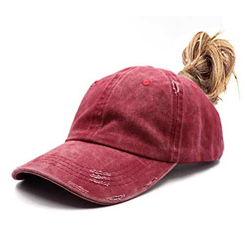 (Distressed Ponytail Vintage Cap Cotton Dad Hat Adjustable Plain Cap Low Profile (Unconstructed) Messy High Bun Hat Ponycaps Adjustable Cotton Baseball Cap)
