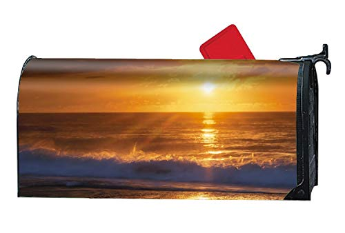 FunnyLife Custom Magnetic Mailbox Cover Mail Wrap for Standard Mailboxes Cover - Beach Sunset Vinyl (Custom House Divided Flags)