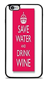 Save Water Drink Wine Black Silicone Case for iPhone 6+ (5.5) by ruishername