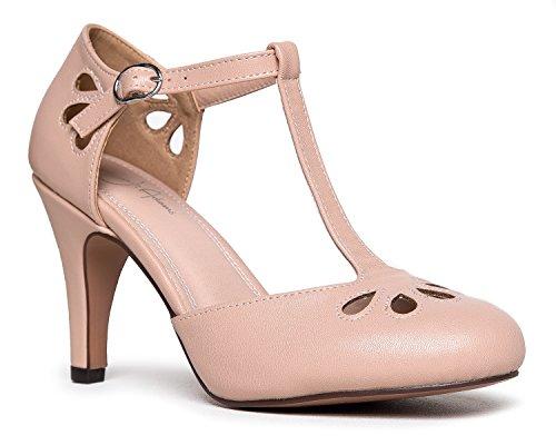 J. Adams Mary Jane Kitten Heels, Nude Pu, 7.5 B(M) - Run Fun Nude