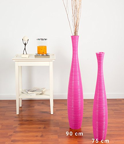 Leewadee Tall Big Floor Standing Vase for Home Decor 30 inches, Mango Wood, Pink