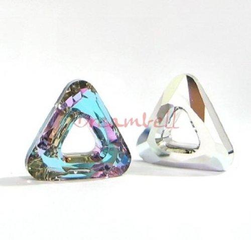 1 pc Swarovski Crystal 4737 Comsic Triangle Frame Ring Vitrail Light Foiled Charm Pendant 14mm / Findings / Crystallized Element