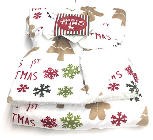 Baby's First Christmas Fleece Gingerbread Blanket 30x40 - Microplush Decorative Baby Throw