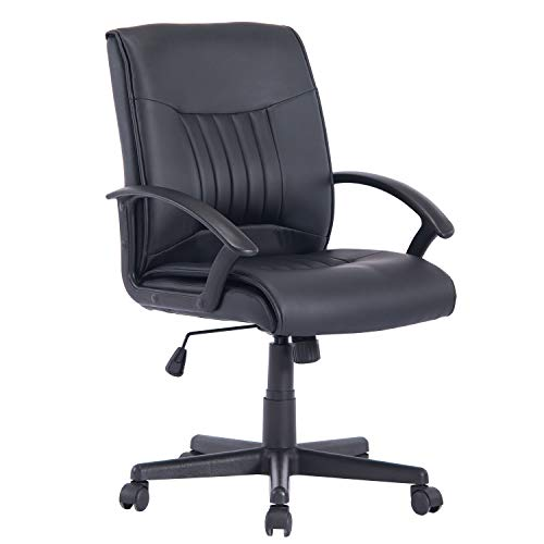 Ergonomic PU Leather Executive Medium Back Computer Desk Task Office Chair with Tilt Function and Thick Seat PESCL001(Black)