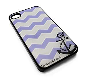 Unsinkable Stripe Anchor Sea Life Sailor Purple and Grey Snap-On Cover Hard Carrying Case for iPhone 4/4s (Black)