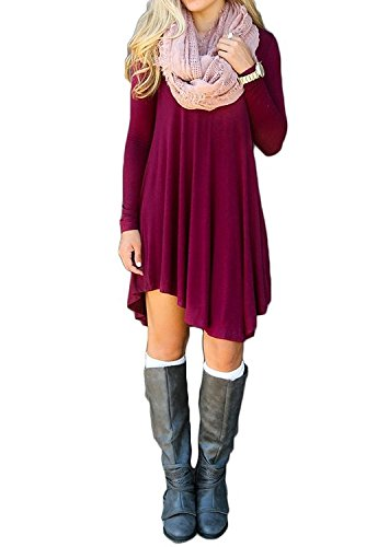 MOLERANI Women's Solid Long Sleeve Casual Loose T-Shirt Dress (XL, Wine Red)