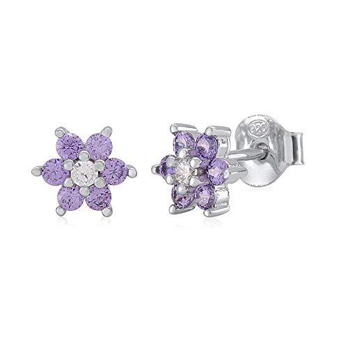 (UNICORNJ Childrens Sterling Silver 925 Purple CZ 6 Petal Flower February Birth Month Stud Post Earrings Italy)