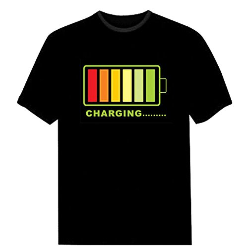 Tricandide Adult Couple LED Flashing Audio Control T-Shirt Night Club Wear Charging XL