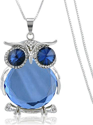 Women Owl Rhinestone Crystal Pendant Animal Long Chain Sweater Necklace Jewelry