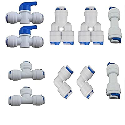 PureSec 2018 1/4-inch OD Push to Connect Quick Fitting Combo for RODI System(Ball Valve+T+Y+L+I Assortment Package, Pack of 10)
