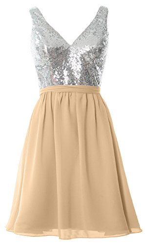 MACloth Women Straps V Neck Sequin Short Bridesmaid Dress 2017 Formal Party Gown Silver-Champagne