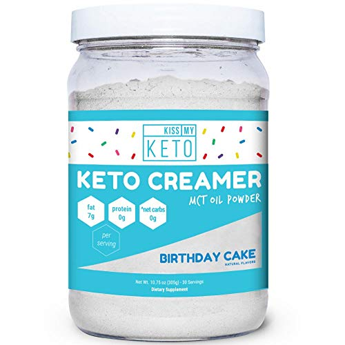 (Kiss My Keto MCT Oil Powder - Keto Creamer Birthday Cake, 30 Servings, Zero Net Carbs, Ketogenic Friendly Coffee Creamer, Easy to Mix, Absorb, Digest for Ketosis, Medium Chain Triglyceride Supplement)