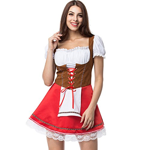 Hot Sexy Red Beer Costume Girl Wench Maiden Costume German Oktoberfest Costume Fancy Dress (Sexy Beer Maiden Costume)