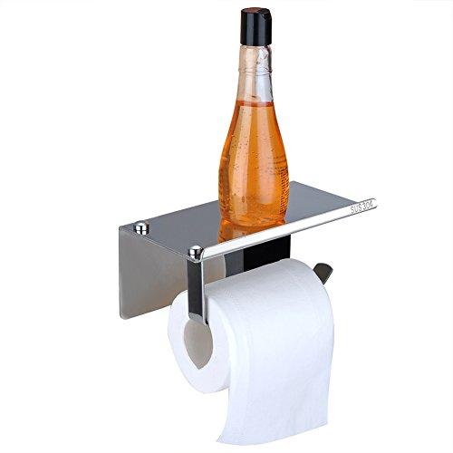 Toilet Paper Holder Phone Shelf – Sendida SUS304 Stainless Steel Shelf for Cellphone Rack No Drilling Wall Mount Organization Bathroom Tissue Roller Holder with Mobile Storage Shelf