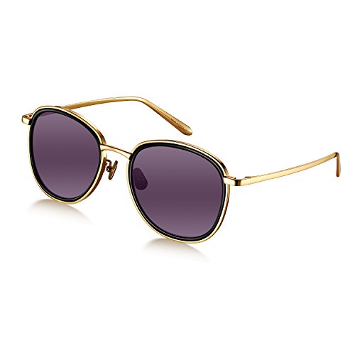Women Shades W518 Gold Frame/Grey Lens Titanium Round Aviator Sunglasses by - Face Sunglasses Diamond Shape