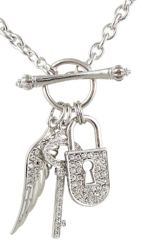 Silver tone Designer Inspired Crystal Padlock Key Angel Wing Charms Toggle Necklace Fashion Jewelry (Inspired Toggle Bracelet)