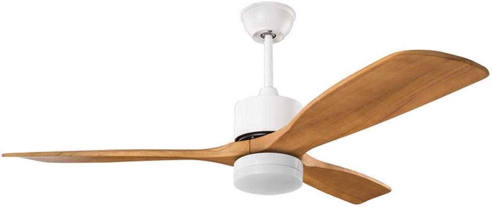 Q-JKJ Ventiladores de techo, 52 pulgadas de 3 hojas Ventilador de techo luz natural sólida tallada de techo de tres hojas del ventilador de luz LED de luz individual Ventilador con la luz for Comedor