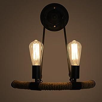 BOOTU lámpara LED y luces de pared Escaleras Liu Bin led luz balcón escalera de media vuelta de sisal de luz luz de pared, negro: Amazon.es: Iluminación
