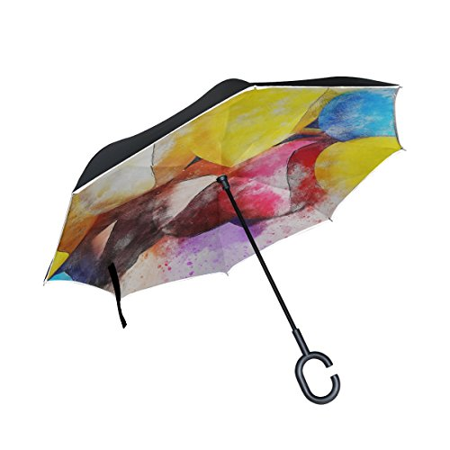 Yumoing Double Layer Inverted Balloons Party Art Abstract Watercolor Vintage Umbrellas Reverse Folding Umbrella Windproof Uv Protection Big Straight Umbrella For Car Rain Outdoor With C Shaped Handle