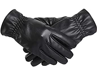 BOTINDO Touchscreen Leather Gloves, Lined Winter Driving