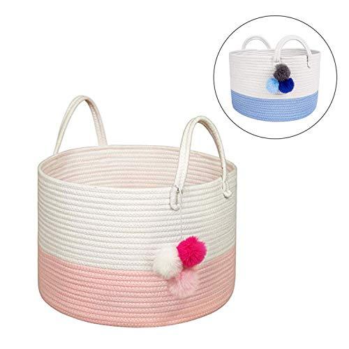 Solaya Short Pink Cotton Rope Basket Storage 16