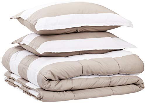 - AmazonBasics Comforter Set - Soft, Easy-Wash Microfiber - King, Tan Rugby Stripes