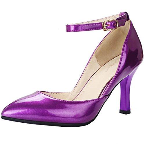 AIYOUMEI Damen Spitz Knöchelriemchen Pumps mit Schnalle und 9cm Absatz Modern Elegant High Heels Lack Schuhe Lila