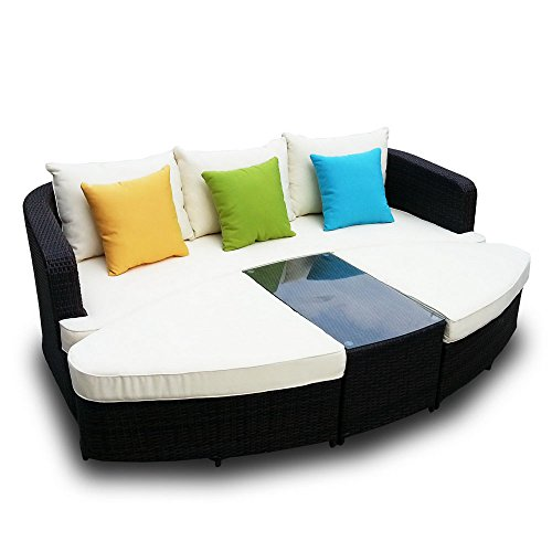Outdoor Furniture Now Naples Deep Seating 4 piece Modular Sofa Set in Black Wicker with Ivory Cushions