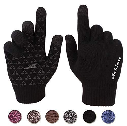 (Achiou Touchscreen Knit Gloves Winter Warm for Women Men Wool Lined Texting (Black))
