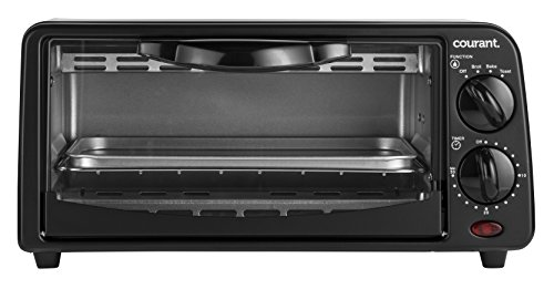 Courant TO-621K 2 Slice Compact Toaster Oven with Bake Tray and Toast Rack, Black (Oven Toaster Chefmate)