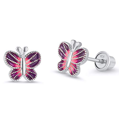 925 Sterling Silver Rhodium Plated Enamel Butterfly Screwback Baby Girls Earrings ()