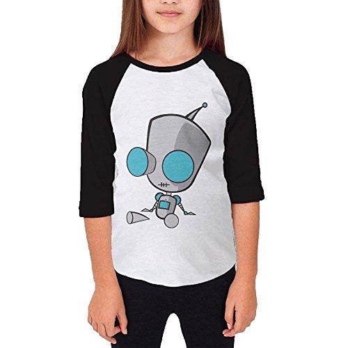 [KSWFA Youth Girls Invader Zim Doom Raglan 3/4 Sleeve T-Shirt Black Size S] (The Sims 3 Costume Chest)