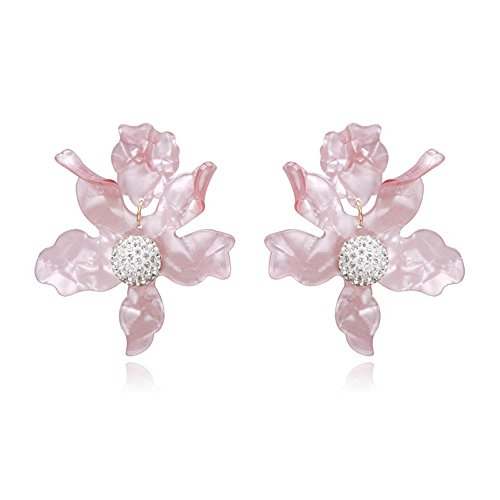 Resin Acrylic Big Flower Earrings for Women Girls Fashion Dangle Stud Earrings,Pink
